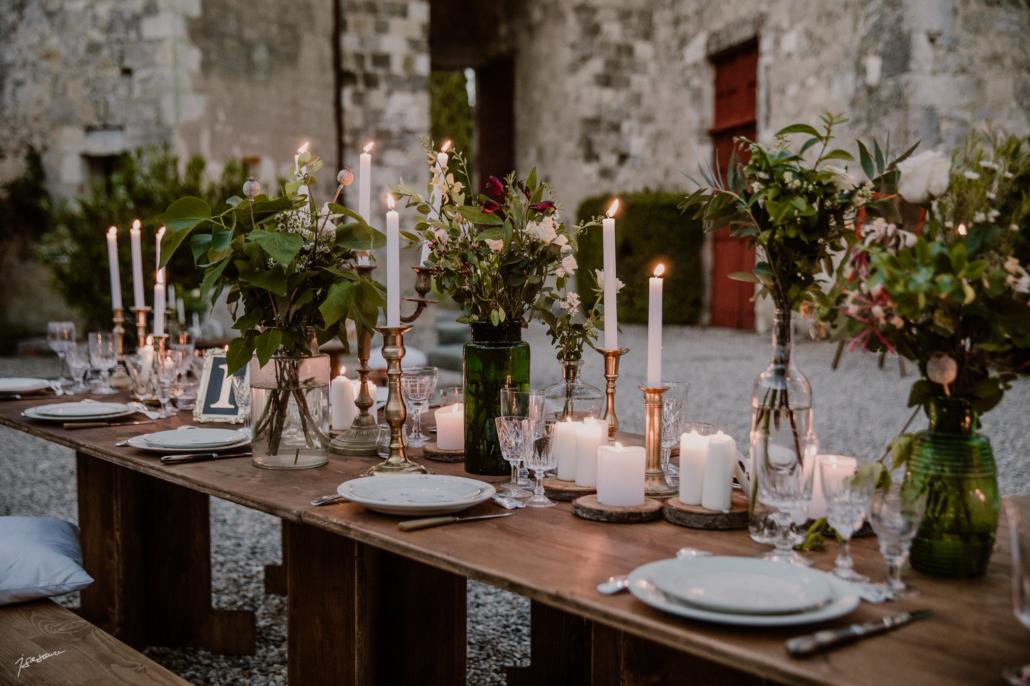 diner extérieur - location mobilier en bois mariage champetre boheme- wood stock reception - gers - sud ouest - Château de Poudenas