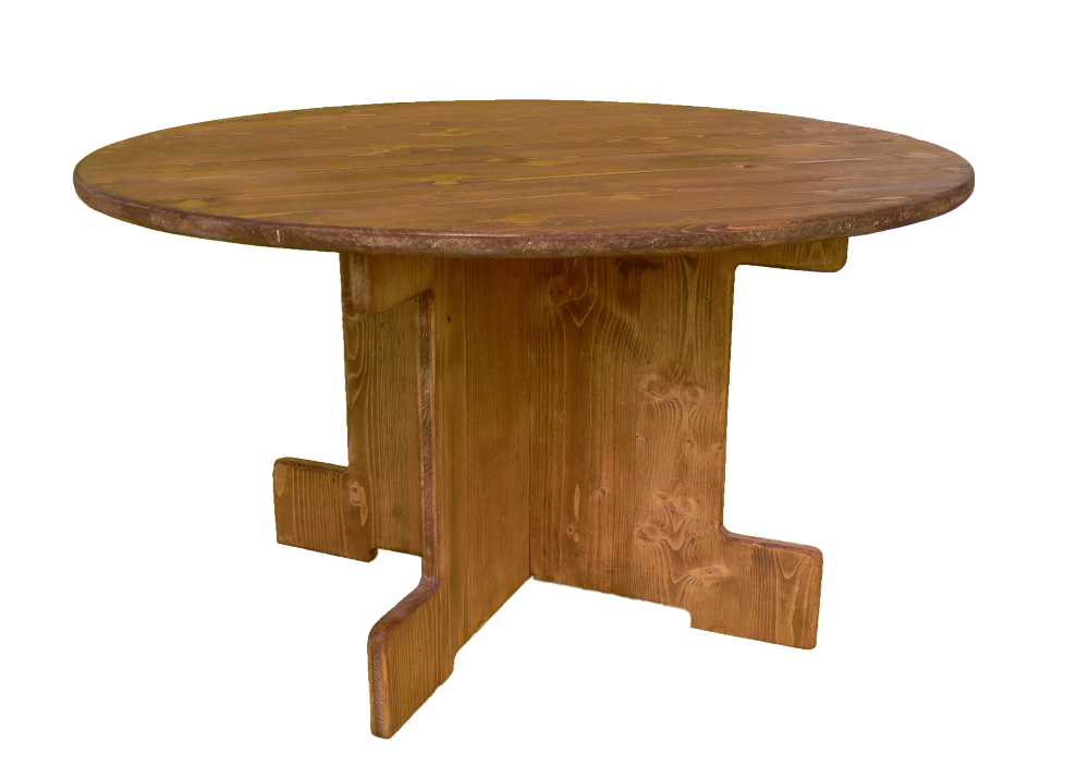 table basse ronde-location moblier bois - wood stock reception - gers - sud ouest