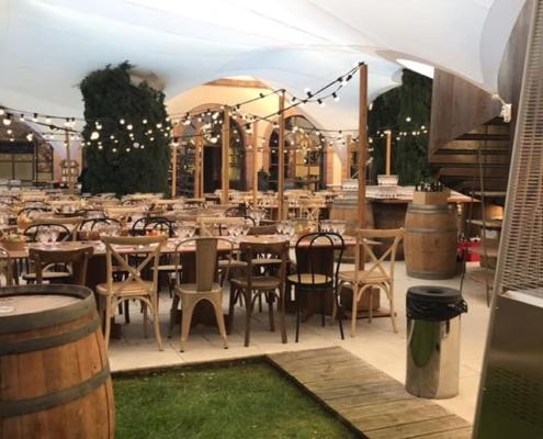 Soirée @HoteldesCapucins - mobilier de récéption bois - wood stock reception - gers - sud ouest